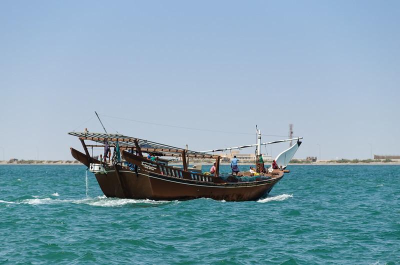 dhow en las aguas de Omán frente a Masirah