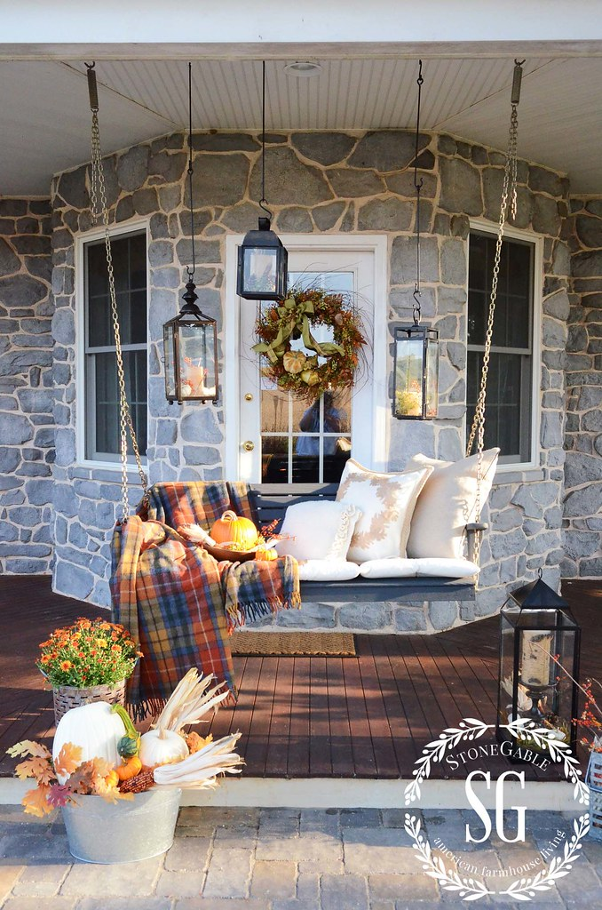 Cozy Fall Porch Ideas Plaid Blanket