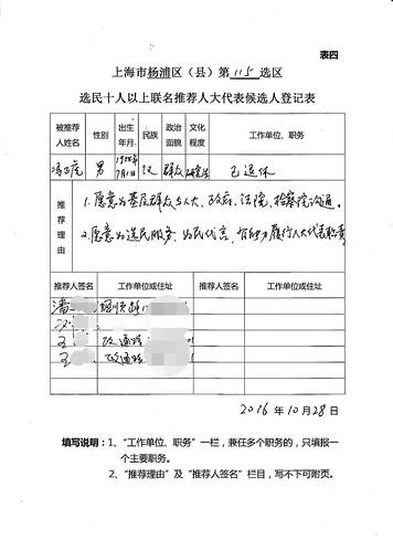 冯正虎的推荐代表候选人登记表 -20161028