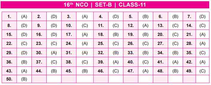 NCO Answer Key Set B Class 11