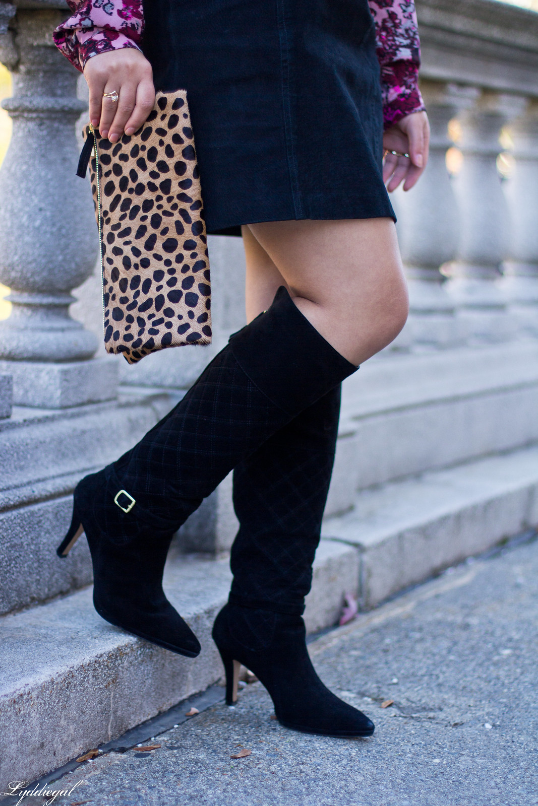 floral blouse, black suede mini skirt, knee high boots-8.jpg