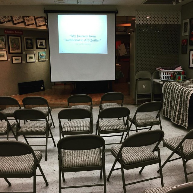 "All set up for my talk at the Redlands Art Association ""my journey from traditional to art quilter"" at 7. I hope people come!"