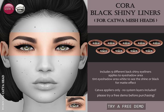 Cora Black Shiny Liners (at Uber)