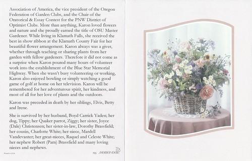 Karen Yaden Funeral Card back