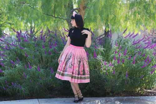 Pinup Girl Clothing Pinup Couture Jenny Skirt in Hansel & Gretel Print Laura Byrnes California Victoria Top in Black