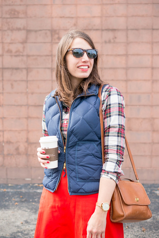 plaid flannel shirt + j.crew factory vest + loft red skirt; casual fall outfit | Style On Target blog