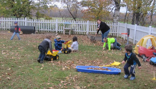 collecting the leaves to dump