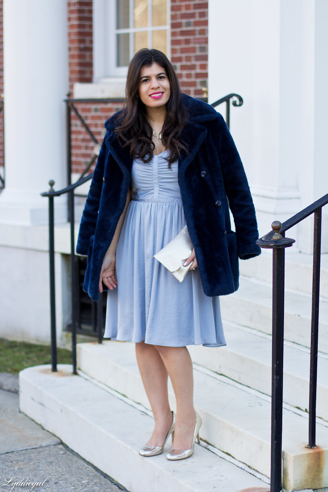 shirred silk dress, matine scalloped silver clutch, navy fur coat.jpg