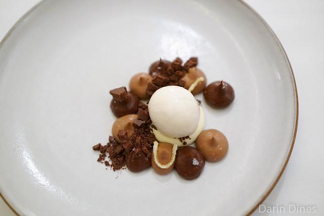 chocolate ganache with orange blossom cream and a cocoa nib ice cream ...