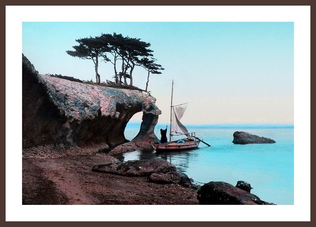 A BOATMAN HOISTS HIS SAIL ALONG THE SCULPTED SHORES OF MATSUSHIMA in OLD JAPAN