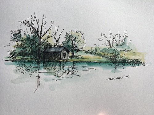 Sketching at the retention pond on South Creek, just below Nathanael Greene Park.