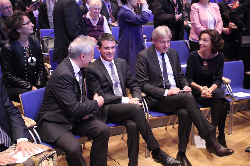 Paul de Sinety, Manuel Valls, Juergen Boos et Audrey Azoulay - Foire du Livre de Francfort 2016