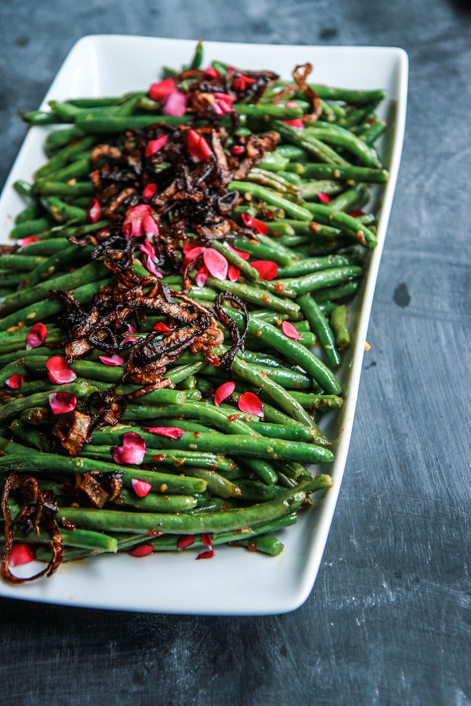 Sichuan Green Beans with Fried Shallots from HeatherChristo.com