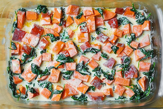 sweet potatoes with spinach in parmesan sauce, Thanksgiving recipes