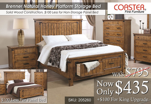 Brenner Natural Honey Platform Storage Bed Only
