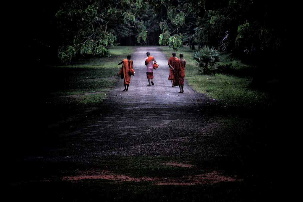 Cambodian Monks Doing Morning Alms