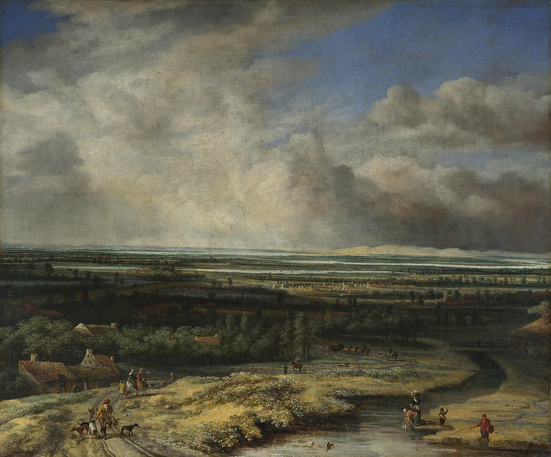 Philips Koninck - An Extensive Landscape with a Hawking Party (c.1670)