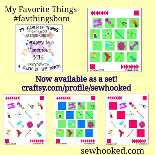 My Favorite Things #favthingsbom now available as a set in my Craftsy shop! #bom #paperpieced #somanyoptions