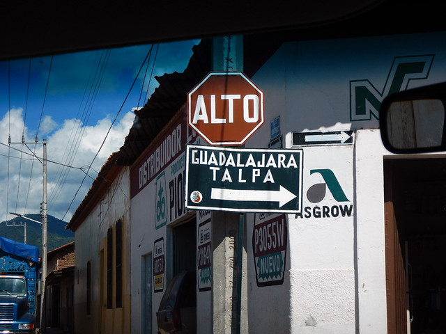 Sign to Talpa, one of Mexico's Pueblos Magicos in the Pacific high sierras