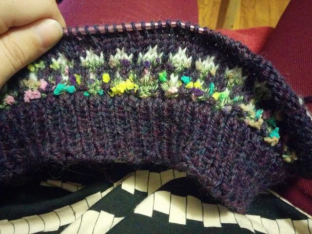 Weird random color spare yarn lopapeysa.