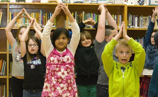 Kids having fun in an artsREACH theatre workshop