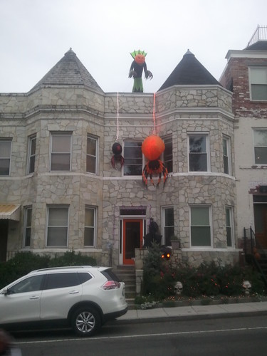 Halloween decorations on a rowhouse in Columbia Heights, 13th Street NW, DC