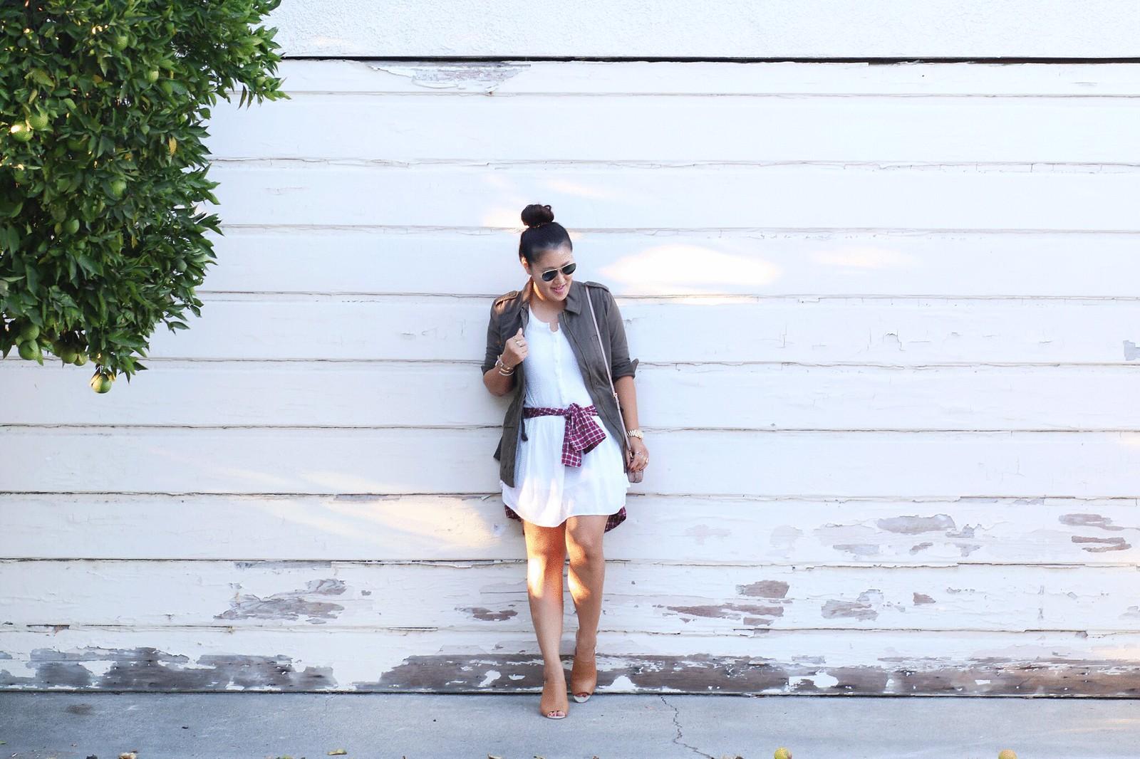 simplyxclassic, fall, olive green utility jacket, white dress, plaid shirt, blogger, fashion, orange county, lifestyle,