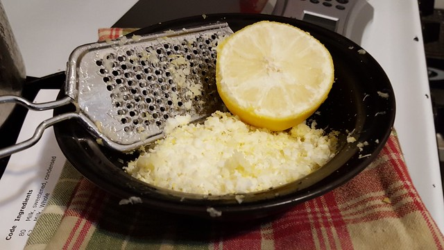 Half of a frozen lemon, zested for Lemon-Cardamon Sugar Cookies
