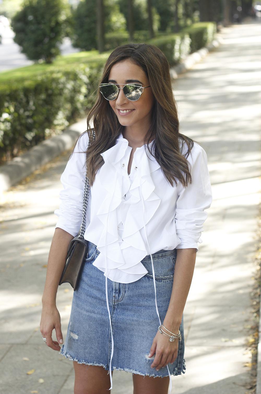 ruffled shirt uterqüe denim shirt sunnies heels gucci bag outfit fashion style15