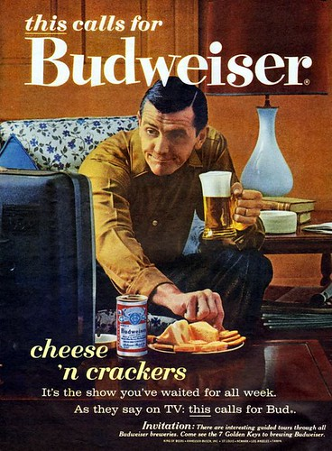 Cheese 'n crackers, and Bud.