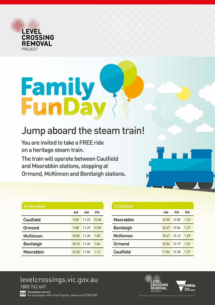 LXRA notice: steam train timetable for 12/11/2016