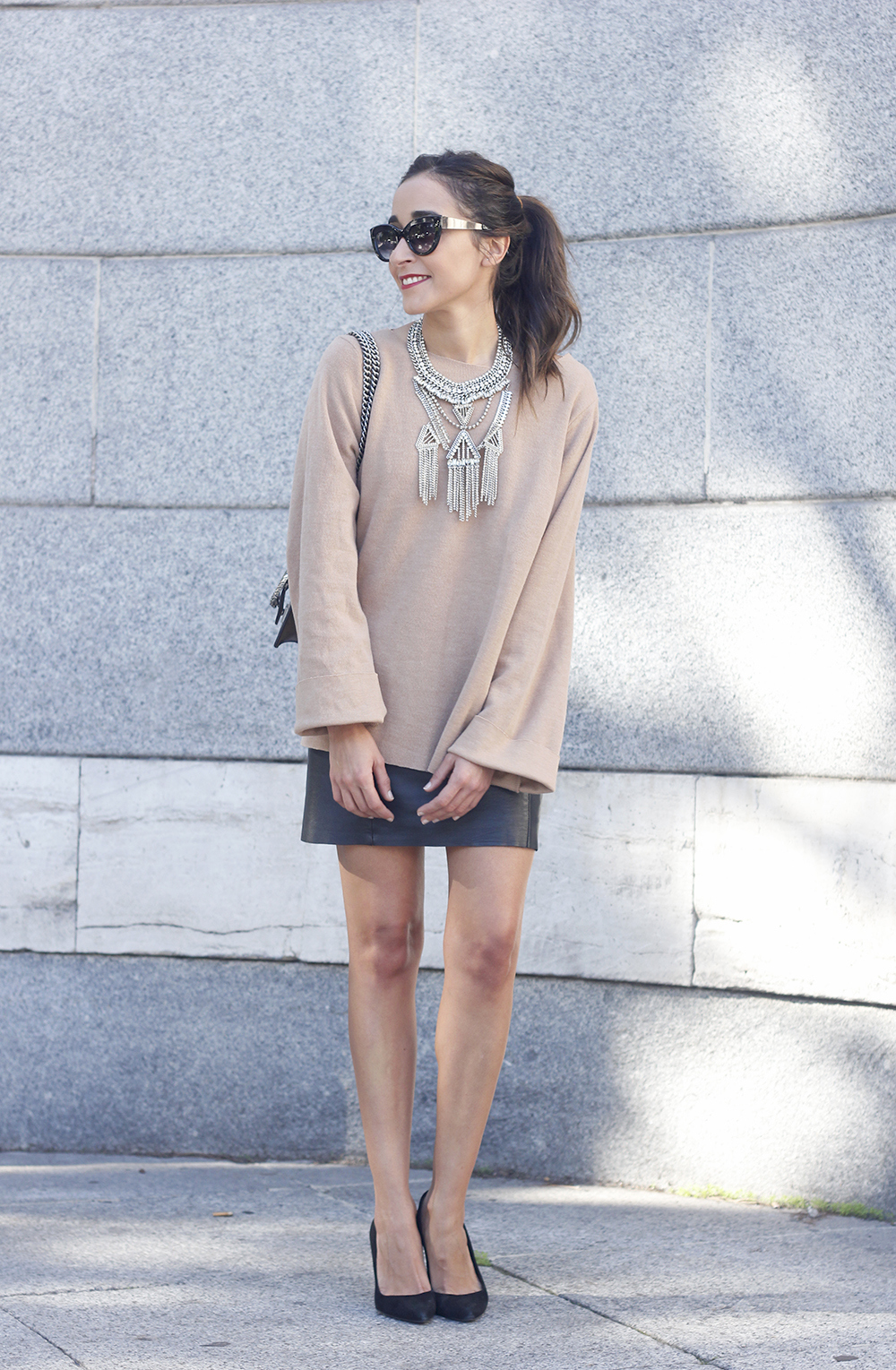nude sweater leather skirt heels sunnies gucci bag fashion outfit style03