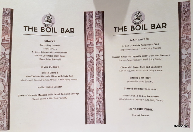 The Boil Bar grand opening menu