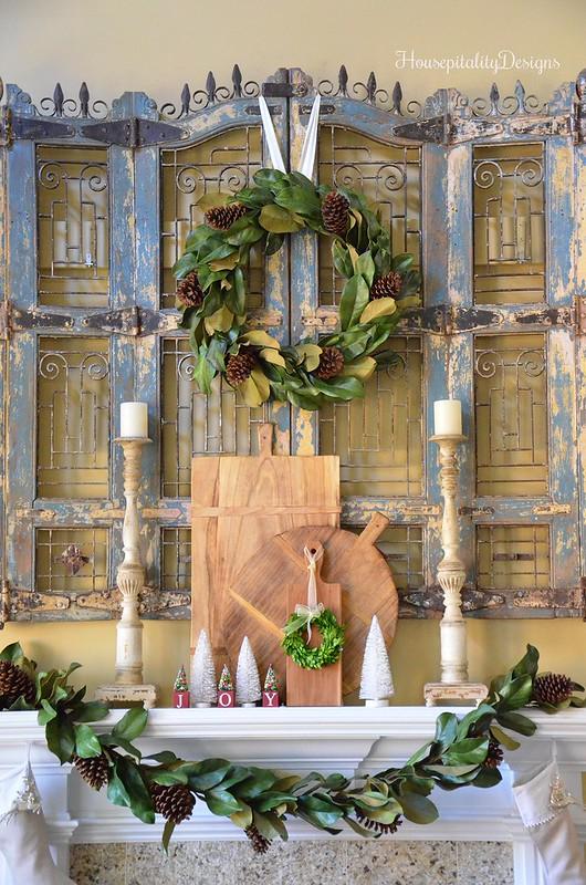 Christmas Mantel 2016 - Magnolia Wreath - Magnolia Garland - Housepitality Designs