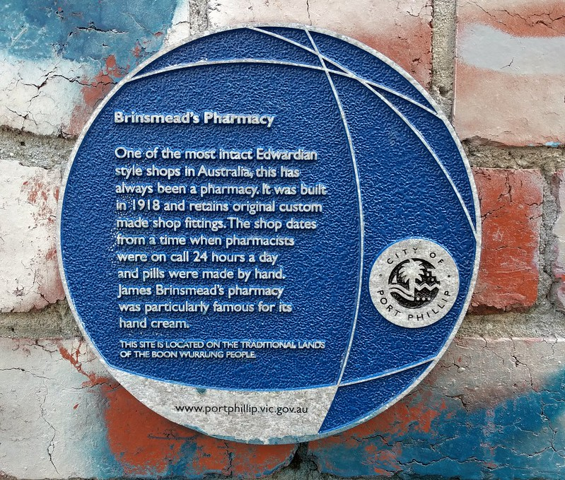 Plaque for Brinsmead's Pharmacy, Ripponlea