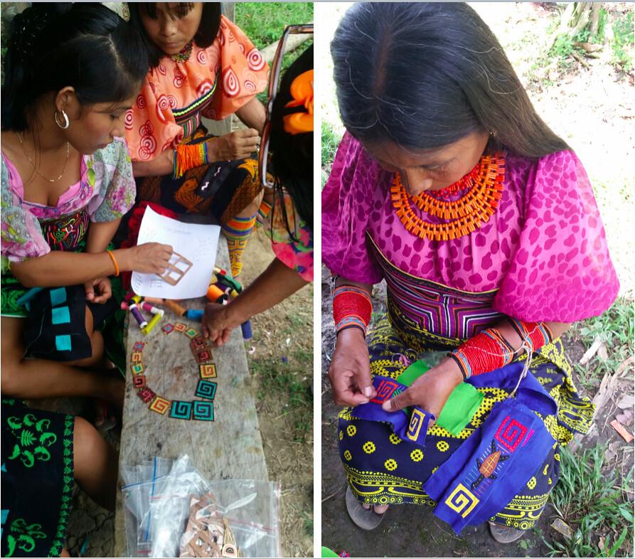 Makua jewelry: Indígenas de la comunidad Kuna elaborando los tejidos para las joyas