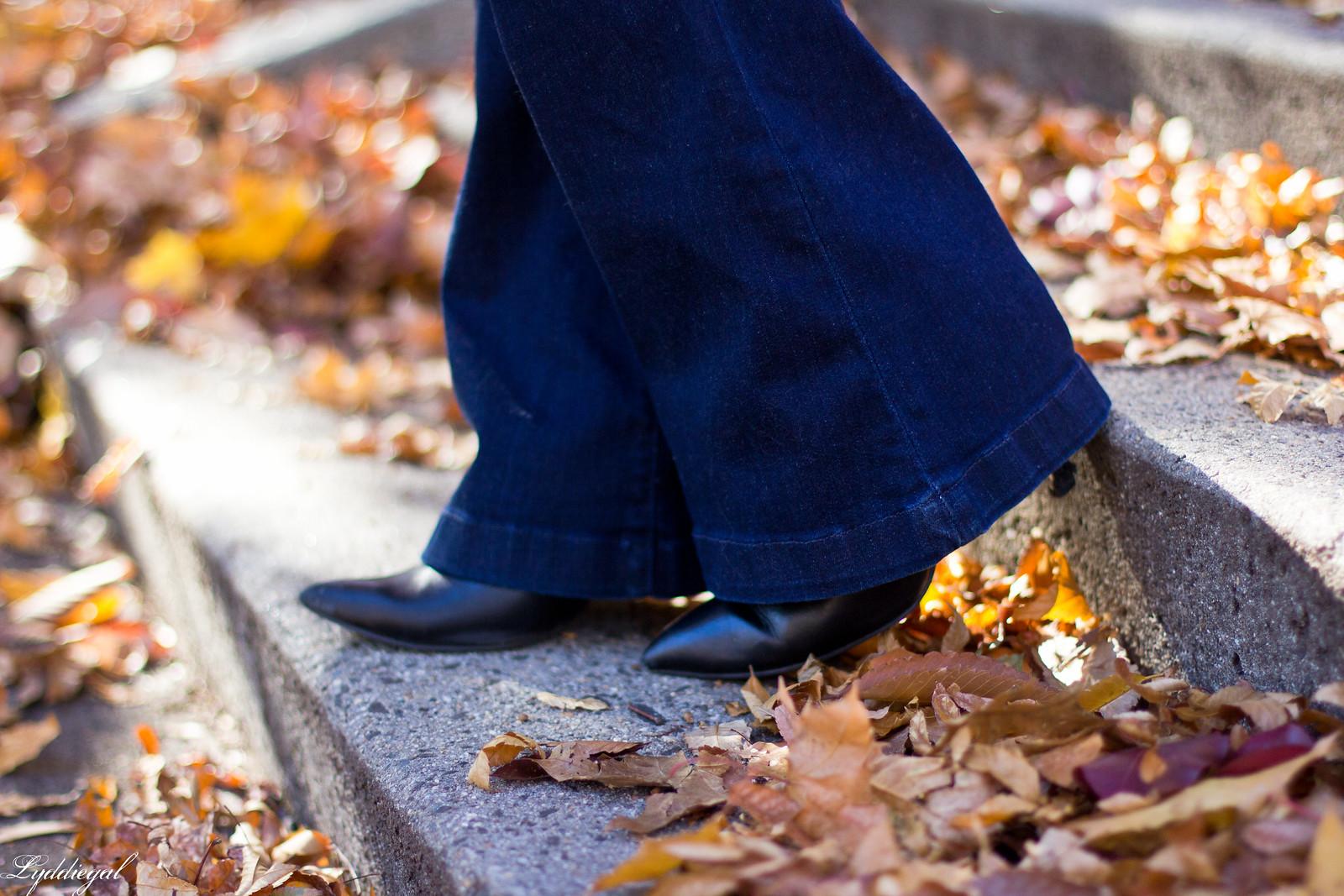polka dot blouse, flared jeans, trench coat-6.jpg