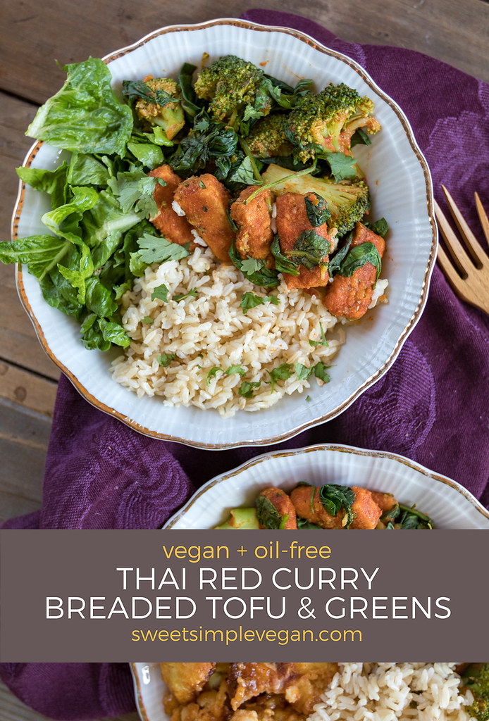 Thai Red Curry Breaded Tofu & Greens (Oil-free + gluten-free option) sweetsimplevegan.com