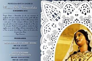 Noicattaro. Programma Festa Immacolata 2016 front