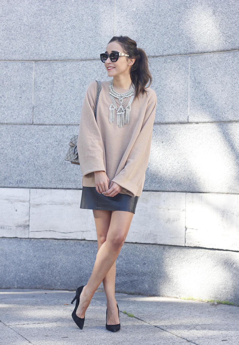 nude sweater leather skirt heels sunnies gucci bag fashion outfit style02
