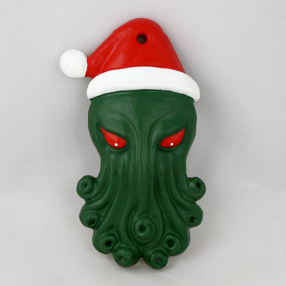 Santa Cthulhu Christmas Tree Ornament by Draig Athar Designs