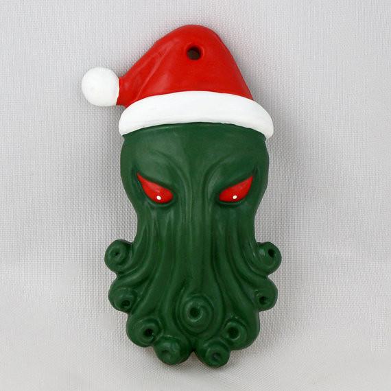Santa Cthulhu Christmas Tree Ornament by Draig Athar Designs