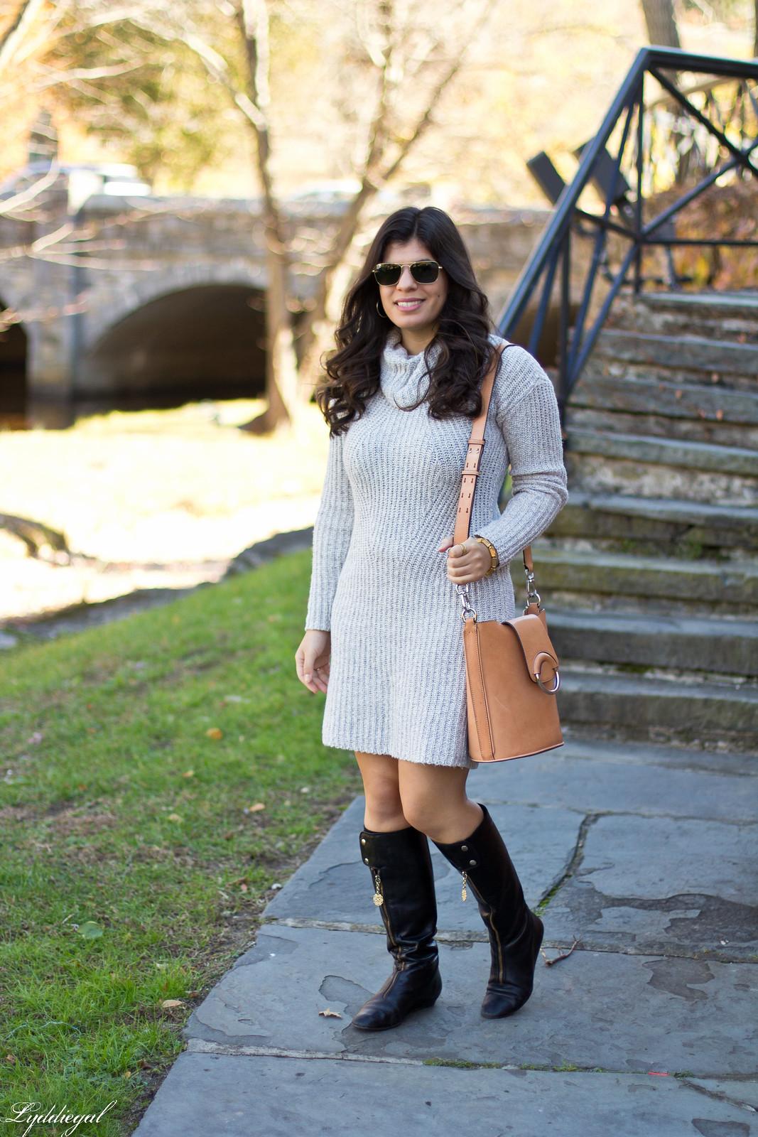 grey sweater dress, black boots, bucket bag.jpg