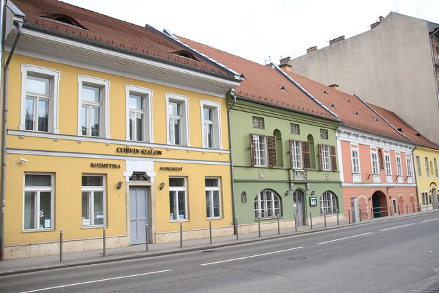 Cute colourful buildings in Budap