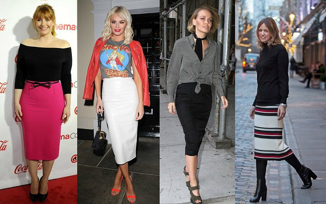 different ways of style midi length pencil skirt