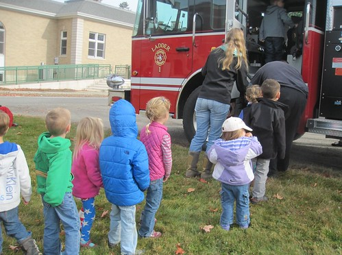 checking out the fire engine