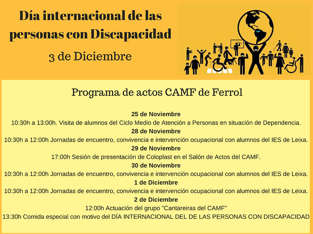 Día Internacional das Persoas con Discapacidade (do 25.11.2016 ao 03.12.2016