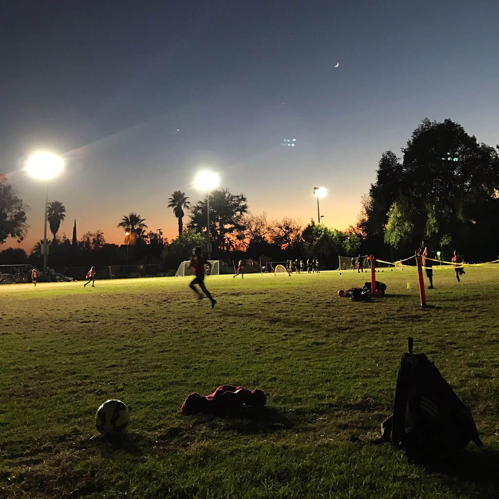 sunset over soccer