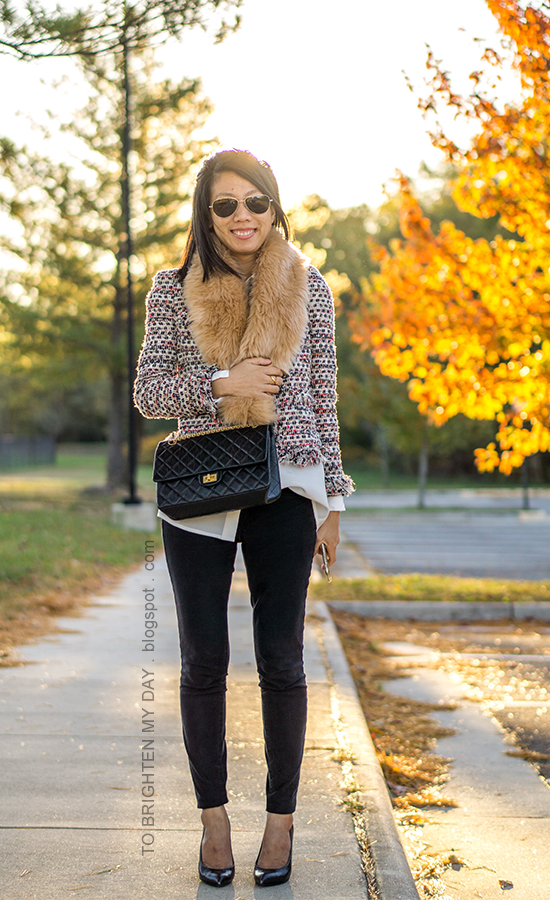 faux fur scarf, tweed jacket, silk boyfriend button up shirt, black skinny jeans, black crossbody bag, black croc pumps with wooden heels