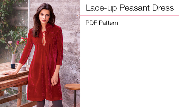 Lace-up Peasant Dress